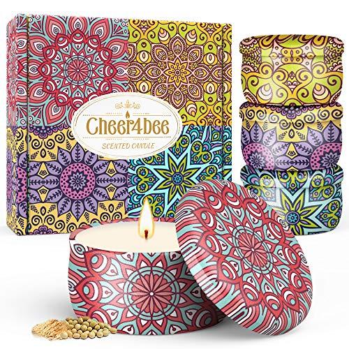 Cheer4bee Geschenke für Frauen, Duftkerze, Grußkarte, Sojawachs Kerzen Set für Bad &Yoga, Gardenie, Lavendel, Jasmin, Vanille, Duftkerzen Geschenke für Muttertag, Valentinstag, Geburtstag
