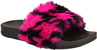 Fashion Thirsty Womens Slip On Sliders Multi Colour Flats Faux Fur Slippers Sandals