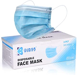Biwisy 50pcs 3-ply Disposable Face Mask