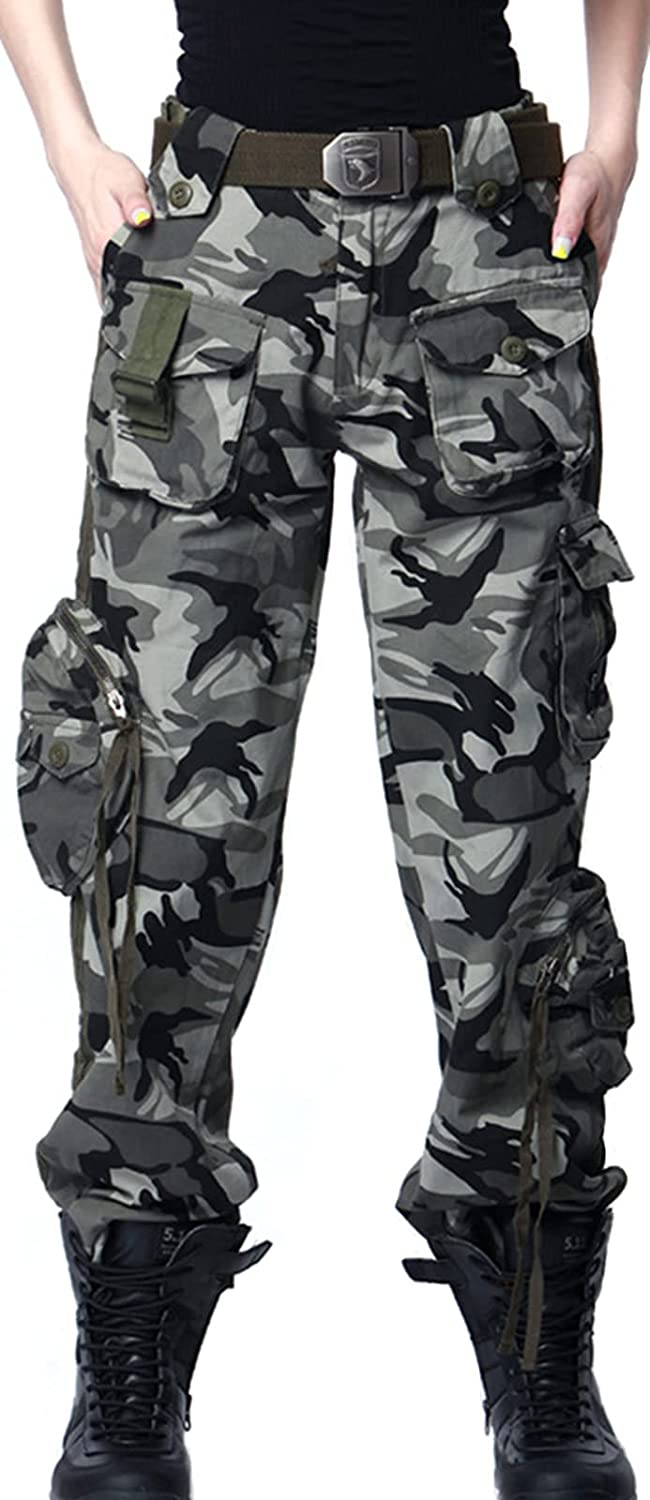 YINSY Multi-Pocket Cargo Workout Jogger Pants for Women Outdoor Casual Ripstop Military Army Pants Trousers