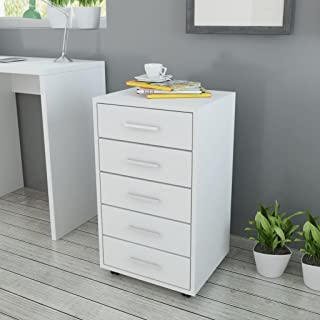 vidaXL Office Drawer Unit with Castors 5 Drawers White Chipboard MDF Aluminium Drawer Handles