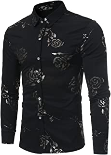 Men's Floral Shirts Gold Rose Printed Slim Fit Long Sleeve Dress Button Down Shirts