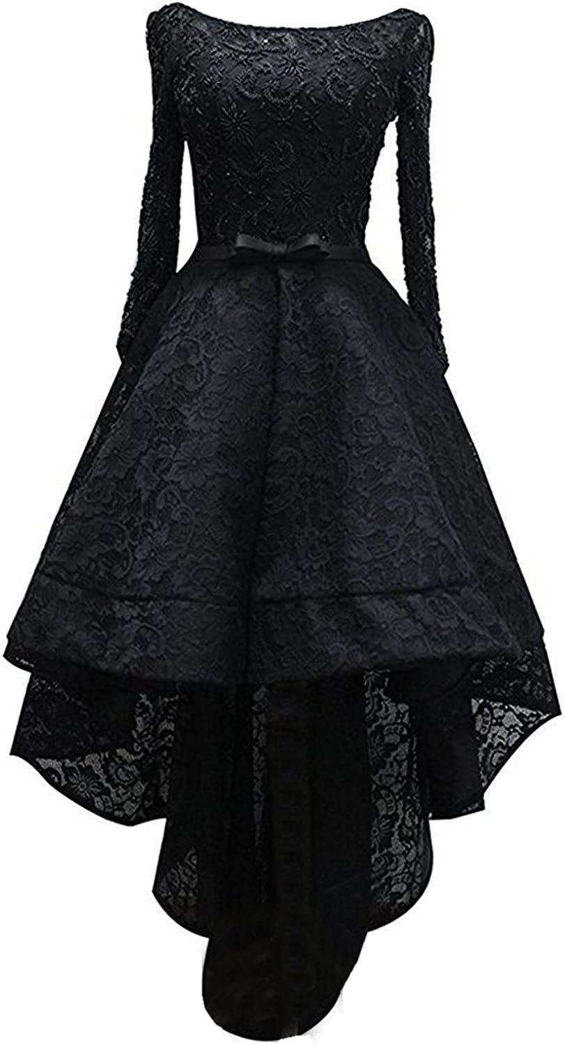 Engerla Women's Sleeves Scoop Beaded Laceup Hi Lo Formal Evening Gown