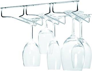 Oenophilia Under Cabinet Stemware Rack, Wine Glass Hanger Under Cabinet Kitchen, Chrome Finish, Holds 6-9 Glasses Dependin...