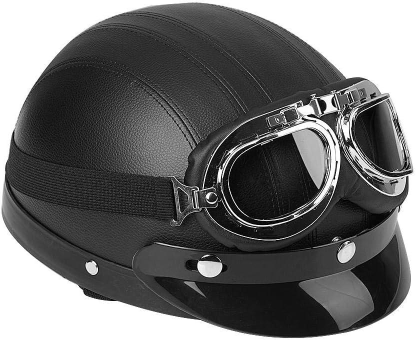 azul casco abierto para motocicleta medio universal de piel sint/ética abierta medio casco con visera UV Casco de scooter lyrlody