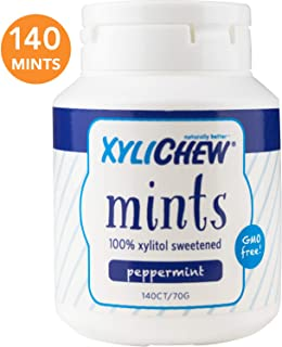 Xylichew 100% Xylitol Breath Mints Jar - Non GMO, Gluten, Aspartame, and Sugar Free Gum - Natural Oral Care, Relieves Bad Breath and Dry Mouth - Peppermint (140 Count)