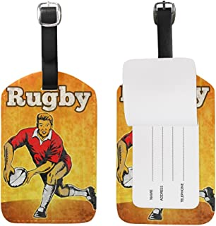 MASSIKOA Rugby Player Passing The Ball PU Leather Luggage Bag Tags Suitcase Labels,1 Pcs