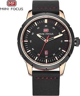 ميني فوكس ساعة كاجوال للرجال ، انالوج بعقارب ، حزام جلد ، اسود ، MF0014G-01