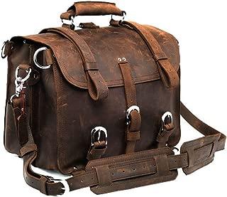Polare Men's Full Grain Leather 16'' Briefcase Shoulder Messenger Bag Fit 15.6'' Laptop