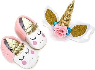 EDOTON Bébé Fille Chaussures de Licorne avec Bandeau Cadeau Ensemble pour Anniversaire Bambin Fille Semelle Souple Anti-dé...