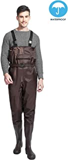 Men Waders Waterproof Chest Waders Bootfoot Chest Wader Light Hunting Fly Fishing Waders for Men with Boots Nylon/PVC Wader Camouflage/Brown 8-14