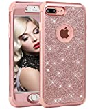 WORLDMOM for iPhone 8 Plus Case,for iPhone 7 Plus Case, 3 in 1 Sparkle Bling Heavy Duty Hybrid Sturdy Armor Defender Shockproof Protective Cover Case for Apple iPhone 7 Plus/iPhone 8 Plus, Rose Gold