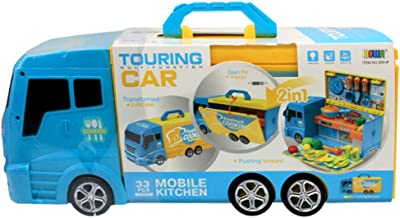 TOYMYTOY Pretend Play Food Truck Kitchen Car Toy with Cooking Pot Pan Kitchen Accessories Set for Kids