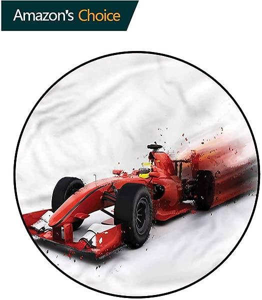 RUGSMAT Cars Area Rugs Ring 3D Non Slip Rug Formula 1 Auto Racing Home Decor Foor Carpet Diameter 71