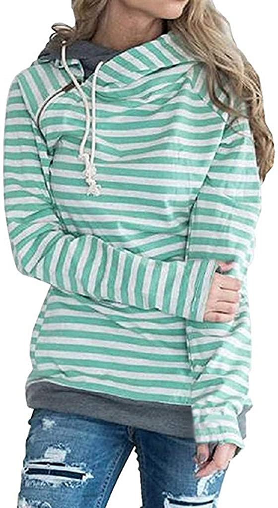 VEKDONE Women Cowl Neck price Stripe Pullover Sleeve Long Outlet SALE Loose Hoodie