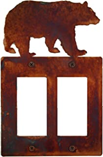 Decorative Rustic Finish Steel Decora Rocker Style Light Switch Cover/Wall Plate - Double Switch, Bear