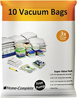 Home-Complete HC-2001 Vacuum Storage Bags-10 Space Saver Bags, 10-Pack, Clear