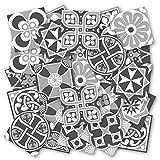 Adhesivos para Azulejos - Paquetes con 32 (20 x 20 cm, Escala Grises | Decoración de Interiores | Azulejos Grises | Vinilos Decorativos Pared | Azulej