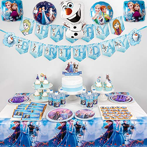 Frozen 2 Party Supplies Set -128pcs Birthday Decorations,10-Kids Frozen 2 Theme Party includes Happy Birthday Banner,Tablecover,Plates,Knives,Spoons,Forks,Cake Toppers,Cupcake Toppers,Chocolate Stickers,Bottle Labels,Foil Balloons