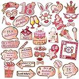HOWAF 39 pz Oro Rosa Photo Booth Compleanno 18 Anni Gadget Foto Props Accessori Kit Compleanno Puntello Decorazioni DIY per Festa 18 Anni Compleanno Ragazze