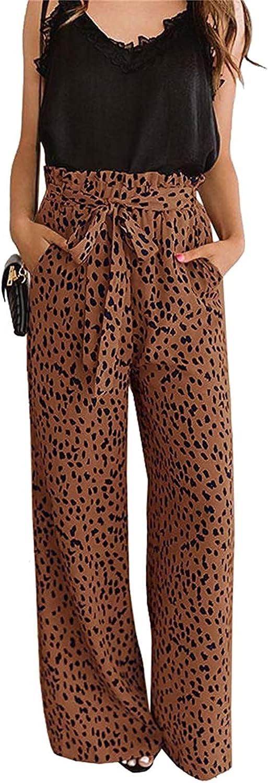 CHIMIKEEY Womens Leopard Print Wide Leg Belte Long Beach store Mall Waisted High Pants