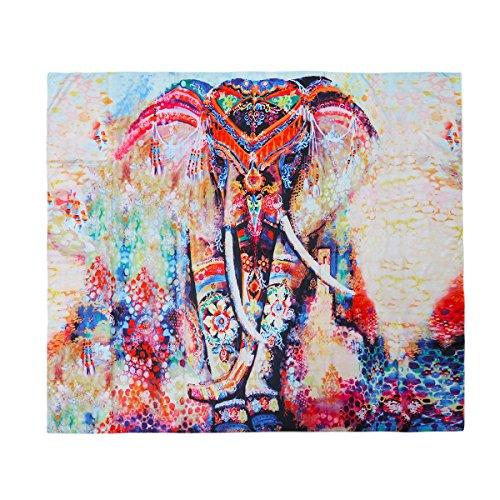 VORCOOL Indischer Mandala Tapisserie Elefant Blumenmuster Wandbehang Bed Sheet Strandtücher Yoga Matten Sonnenblock Decke 150x130cm