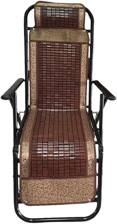 ZLYH Reclining chair folding lunch break siesta chair summer mat breathable elderly home elderly summer chair