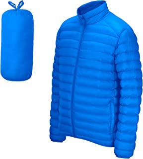 SPRING SEAON Men Puffer Jacket Long-Sleeve Full-Zip Water-Resistant Packable Lightweight Down Coat