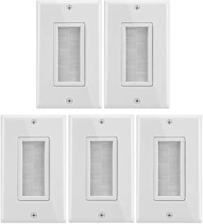 Fosmon 1-Gang Wall Plate (5 Pack), Brush Style Opening Passthrough Low Voltage Cable Plate in-Wall Installation for Speake...