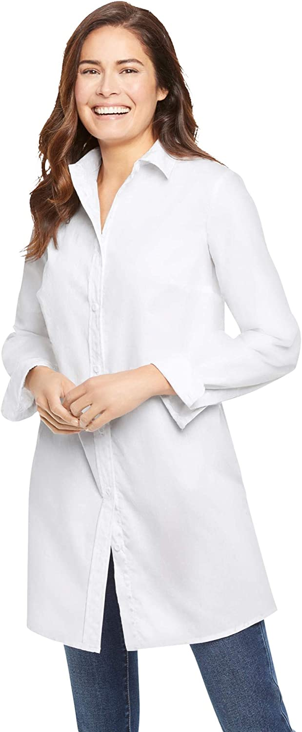 Woman Within Women's Plus Size Perfect Long-Sleeve A-Line Tunic