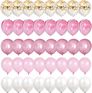Mayen 40 Pcs 12 Inch Gold Confetti and Pink Agate Marble Balloons, Hot Pink and Light Pink White Latex Balloons Set for Birthday Party Decorations Wedding Baby Showers