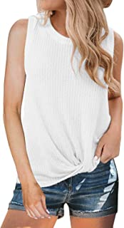 4fe3034adf5f5 MIHOLL Womens Casual Tops Sleeveless Cute Twist Knot Waffle Knit Shirts Tank  Tops