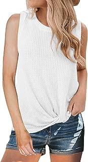 Womens Casual Tops Sleeveless Cute Twist Knot Waffle Knit Shirts Tank Tops