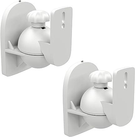 deleyCON 2X Soporte Universal para Altavoces y Bafles de Grado de Rotación + Inclinación hasta 3,5kg de Carga Instalación en Paredes y Techos - Blanco