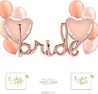 Andaz Press Rose Gold Bridal Shower Party Balloon Bouquet Set, Bachelorette Party Supplies, Inflatable Script Letter Bride, Heart and Latex Balloons, Bulk Balloon Kits for Engagement Party Decorations