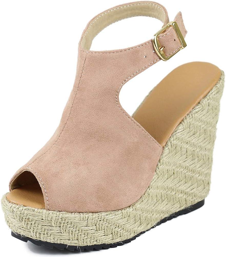 Vimisaoi Espadrille Wedge Import Sandals for A [Alternative dealer] Handmade Women Peep Toe