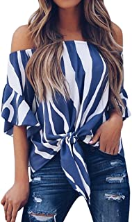 Off Shoulder Blouses for Womens, Floral Stripe Bell Sleeve Baggy Tie Knot Tops Casual Shirts