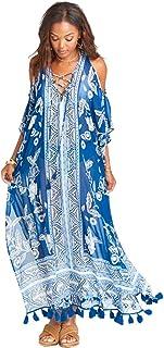 ثوب سباحة بيكيني شيفون للنساء رداء سباحة علوي للشاطئ فستان طويل طويل