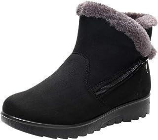 Women's Ladies Winter Ankle Martin Short Snow Boots Inner Wool Fur Footwear Warm Shoes (Color : Black, Size : 6 UK)