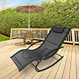 GardenKraft Outdoor Garden Rocking Chairs / 2 Styles Includes Pillow Or Side Bag/Steel Frame/Ultra-Durable Textilene Material/Black Or Grey Colours (Black, With Pillow)
