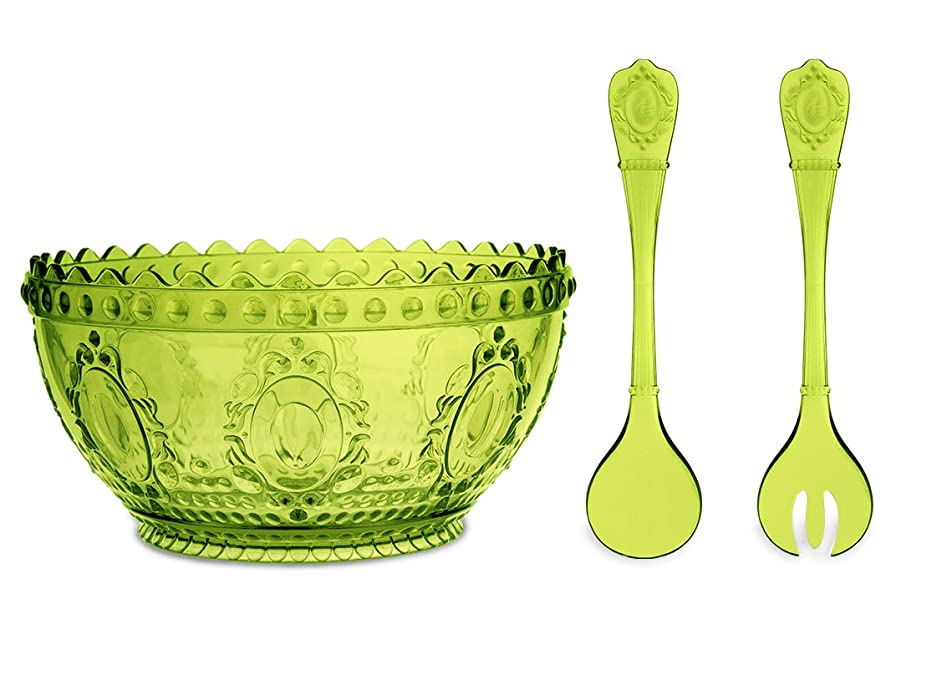 Baci Milano Baroque & Rock Limited Edition Lime Green Salad Bowl and Thongs Serving Set