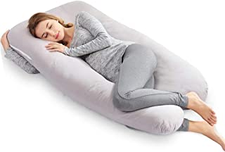 AngQi Full Pregnancy Body Pillow, U Shaped Maternity Pillow for Back Pain Relief and Pregnant Women, with Washable Cotton Cover, 56-inch, Ashy