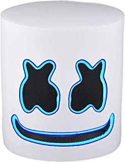 Marshmallow Mask Helmets DJ Full Head Mask Novelty LED Music Props Light Up for Bar Music Festival Halloween Costume Party White