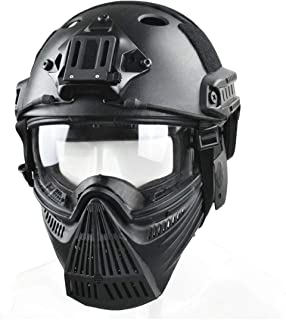 JFFCESTORE Tactical Mask and Fast Helmet,Protective Full Face Anti-Fog Clear Goggle mask Ear Protection Adjustable Strap One Size fits All