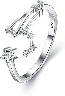 Women 925 Sterling Silver CZ Horoscope Zodiac 12 Constellation Astrology Adjustable Statement Ring