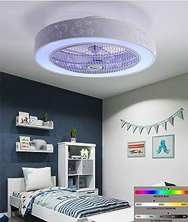 Ventilador de techo Luz de techo LED moderna, con altavoz musical Bluetooth dual, luz de techo regulable con aspas retráctiles con luz y control remoto 84W / 58Cm, restaurante de araña plegable