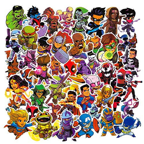 50 Pezzi Kit Adesivi Marvel Graffiti, Supereroi Stickers Tumblr Vinyl Avengers Legends Decals per Bambini Adolescenti, Adulti, Laptop, Auto, Moto, Biciclette, Skateboard, Valigia (B)