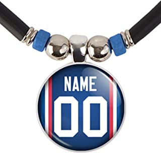 Buffalo Football Jersey Necklace Personalized with Your Name and Number Buffalo Football Jersey Glass Pendant Necklace Jew...