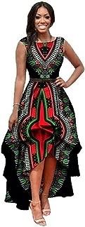 Womens African Print Sleeveless High Low Dashik Formal Prom Peplum Flare Midi Party Dress