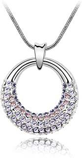 Coach House Jewelry  Woman's Beautiful Silver Moon Necklace and Crystal Pendant